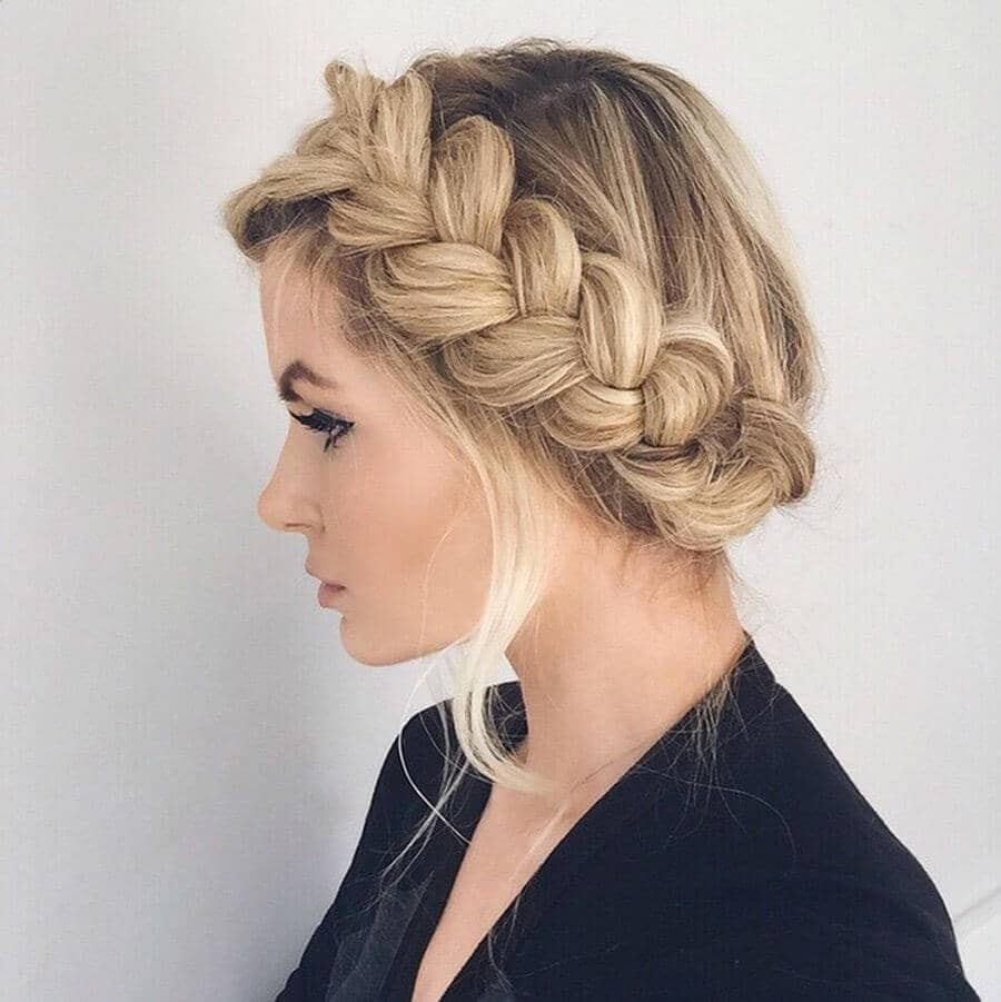 Simple and Thick Side Braid Secured Up