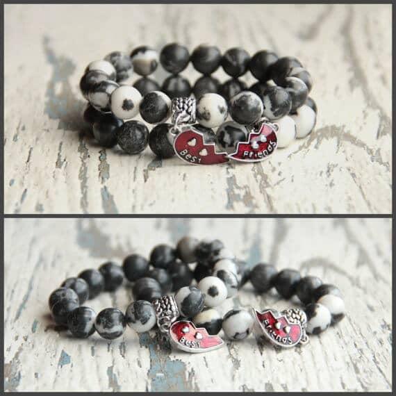 Black and White Half Heart Charm Bracelet