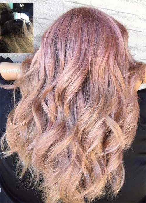 Dusty Rose Gold Crown Reverse Ombre Color