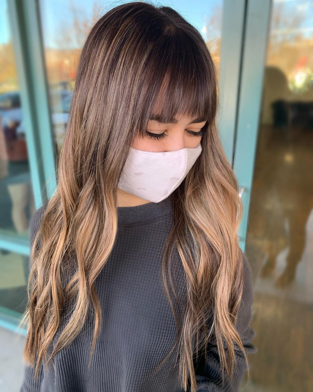 Lengthy Dip-Dyed Waves with Curtain Bangs