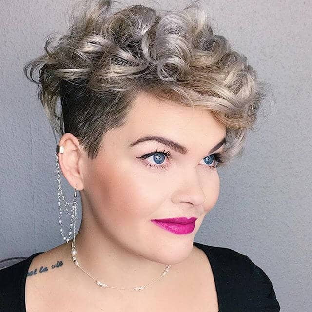 Trendy Silver Curls With Shaved Undercuts