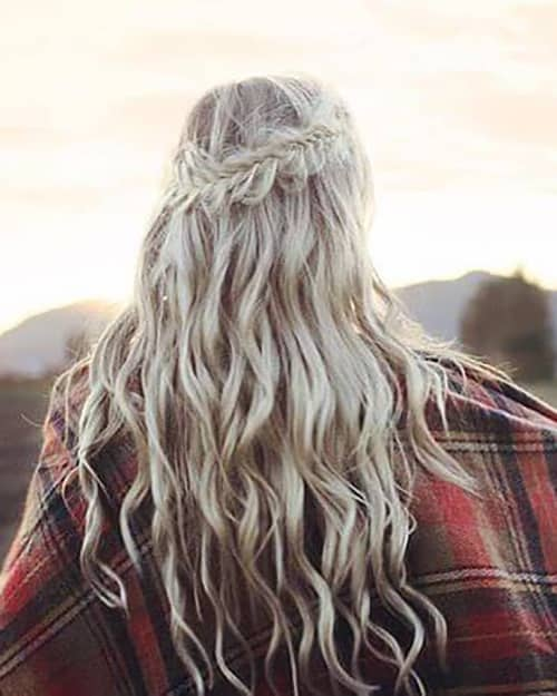 Bohemian Beach Waves with Messy Fishtail Crown