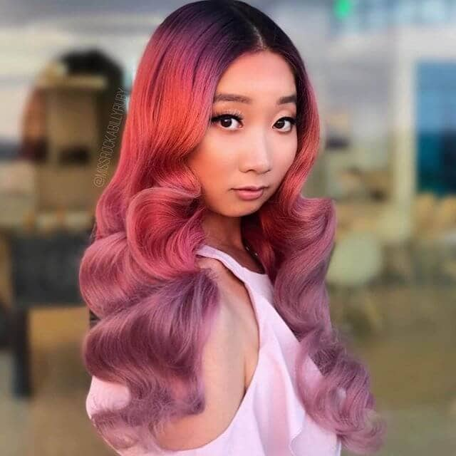 Vibrant Pink and Purple Low Curls