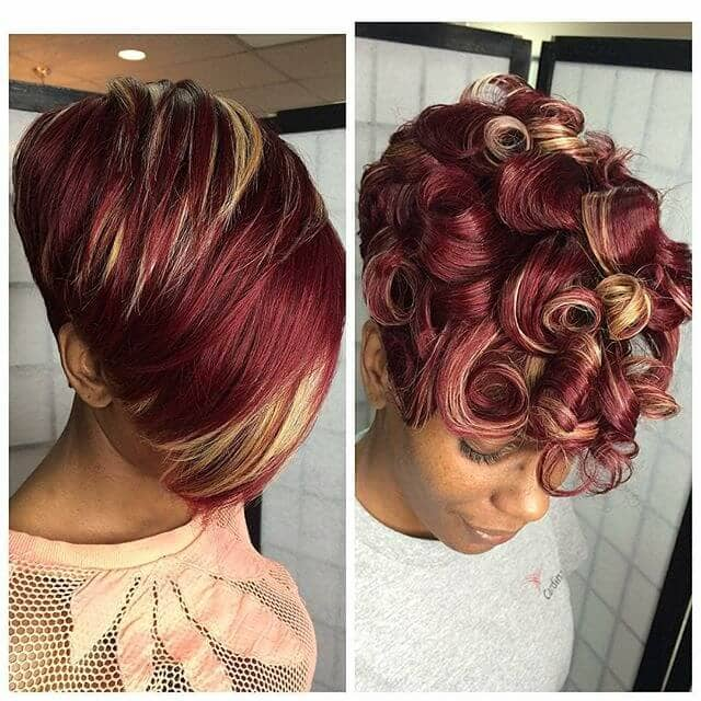 Curly And Straight Red Tone Short Weave Style