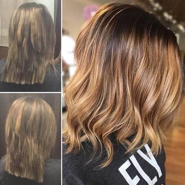 Wavy Auburn Shag with Blonde Highlights