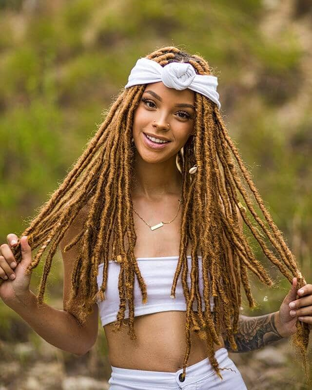 Long Brown Bohemian Braids with Dark Roots