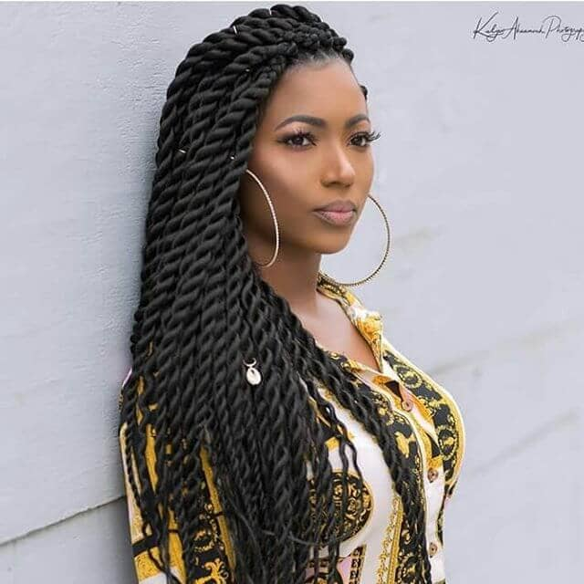 Thick Twist Braids Hairstyle With Charms