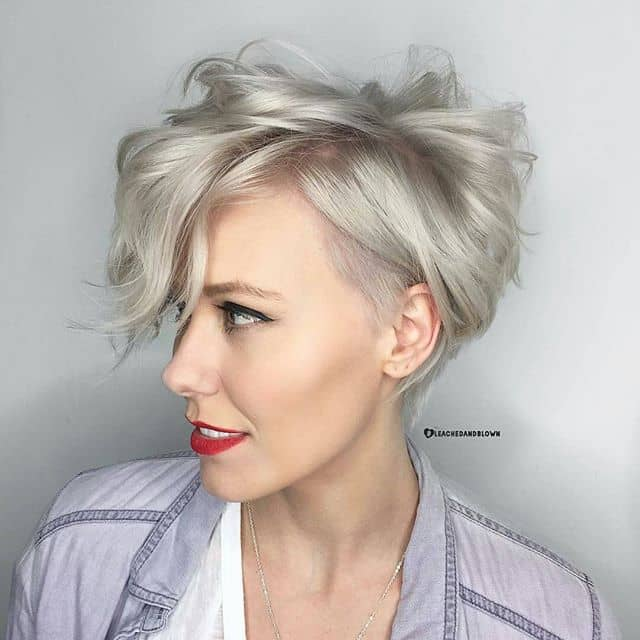 Soft Blond Asymmetrical Pixie With Side Sweep