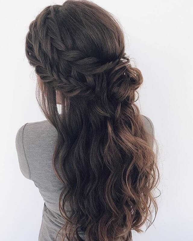 Dark Brown Double Braid Messy Half Updo