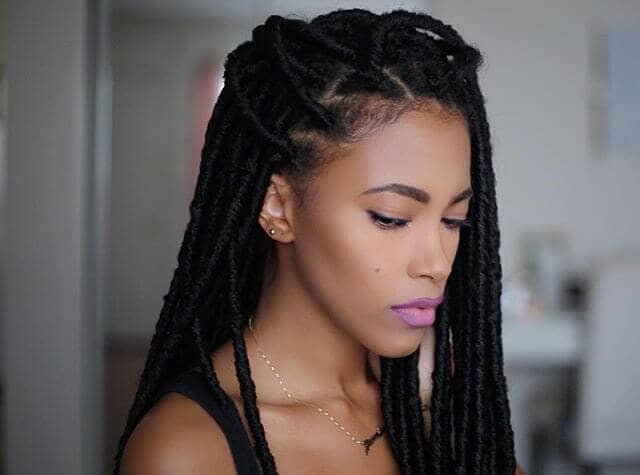 Pulled Back Crochet Box Braids with Exposed Cornrows