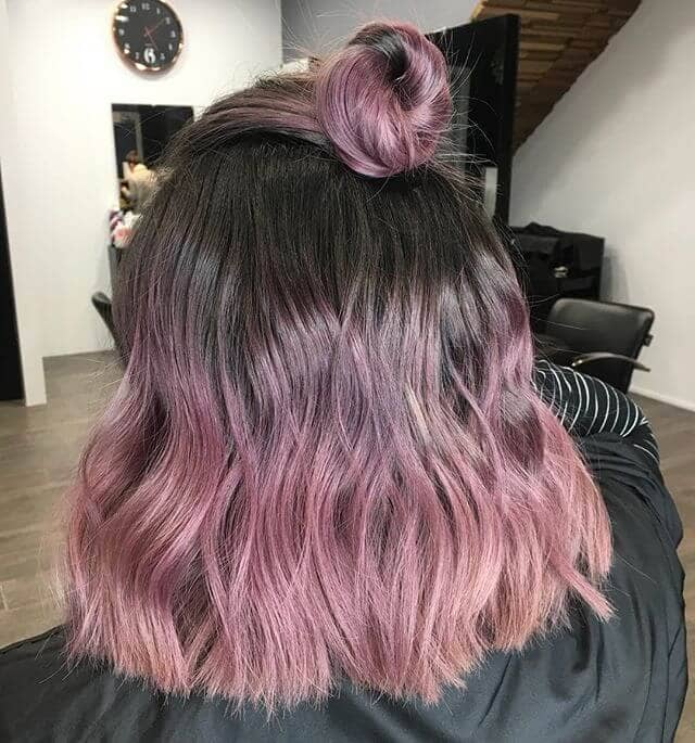 Dip-dyed Pink Waves with Top Knot