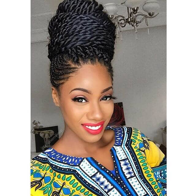 African Braids Hairstyle Wrapped in High Bun