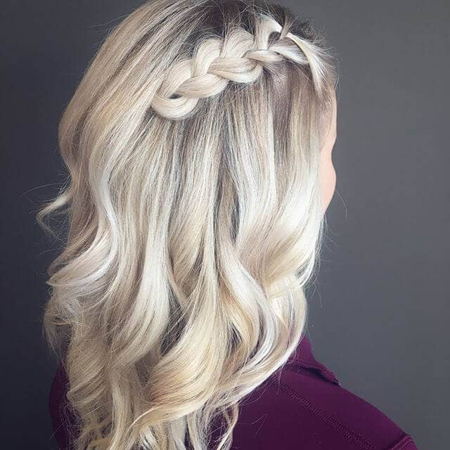 Platinum Blonde Curls with Cute Braid