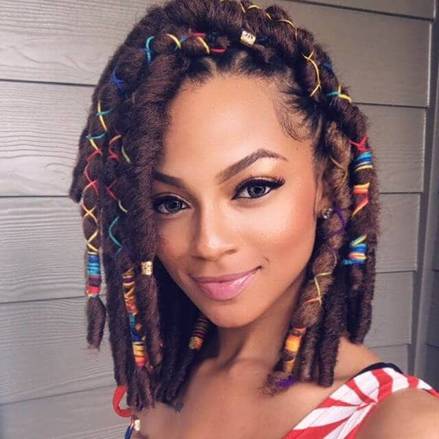 Cute Shoulder Length Twists with Colorful Bands