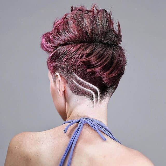 Ombre Curly Hair Undercut With Geometric Lines