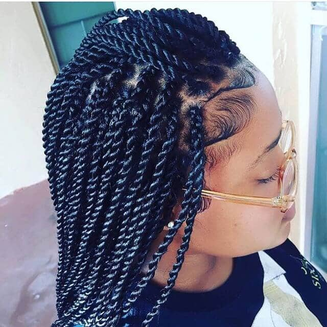 Shiny Black Twist Braids Hairstyle