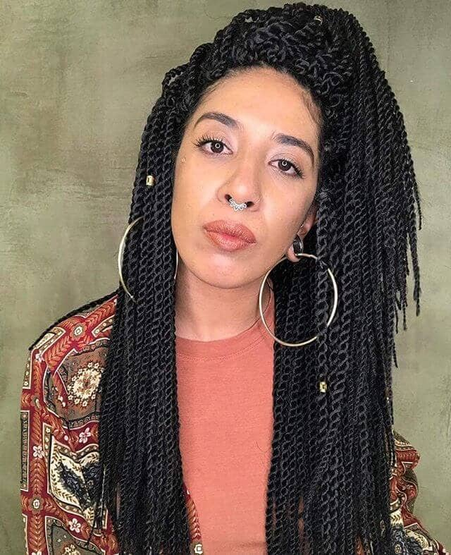 Long Crochet Hair Twists in Half-up Style