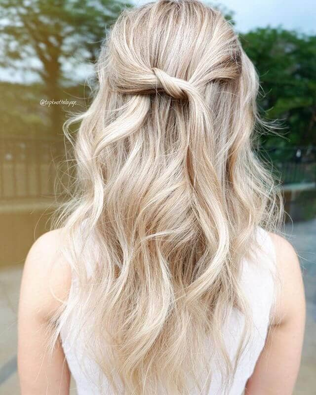 Natural Light Blonde Hair in a Half Twist