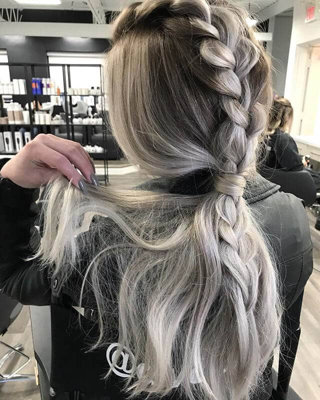 Silver-Toned Braided Pony Tail