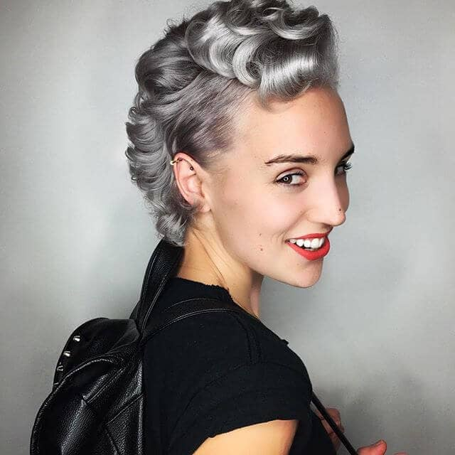 Ultra Cool Gray Hair Twist With Curly Undercut