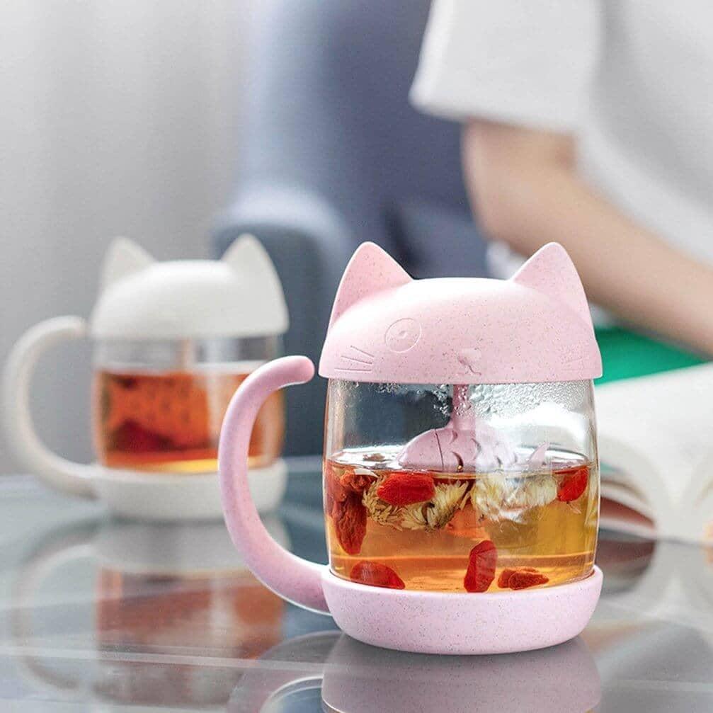 Adorable Tea Mug with Cat and Fish