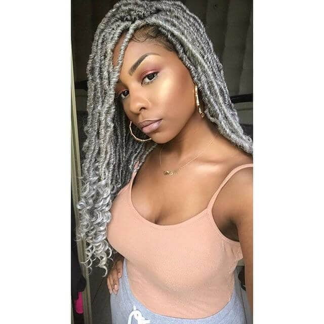Long Silver Crochet Box Braids with Curly Ends
