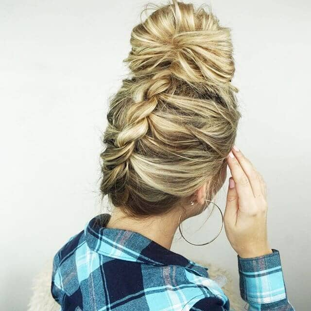 Upside Down Twist Braid and High Bun