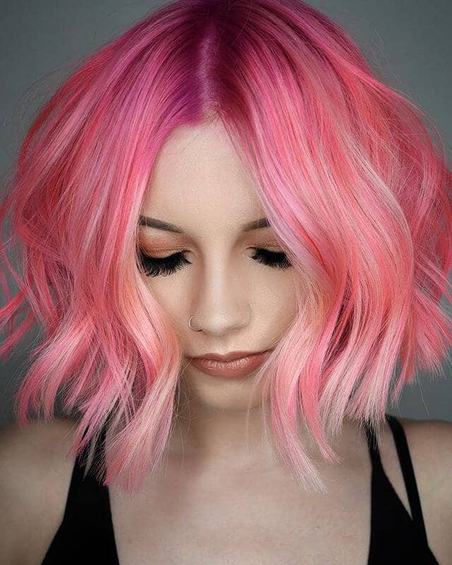 Short Pink Waves with Rose Gold Highlights