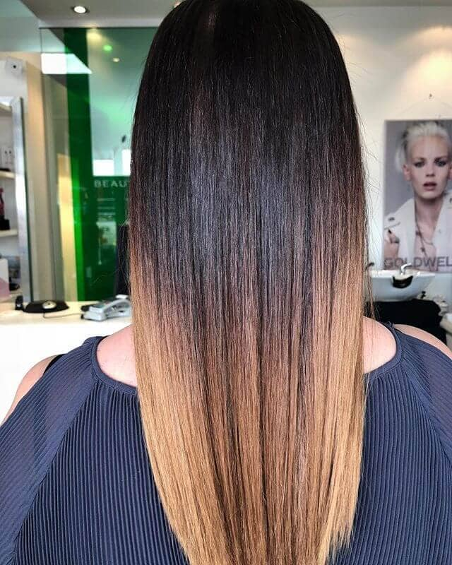 Slic Straightened Dark Brown and Golden Ombre