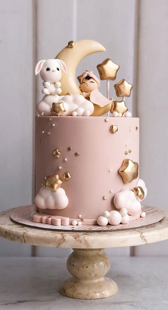 Dreamy Rose Gold Baby Shower Cake