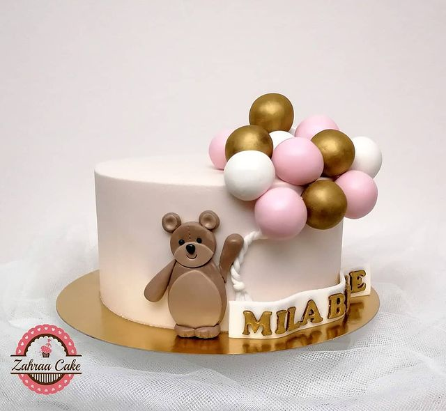 Gold-Dusted Teddy Bear Takes to the Air Cake