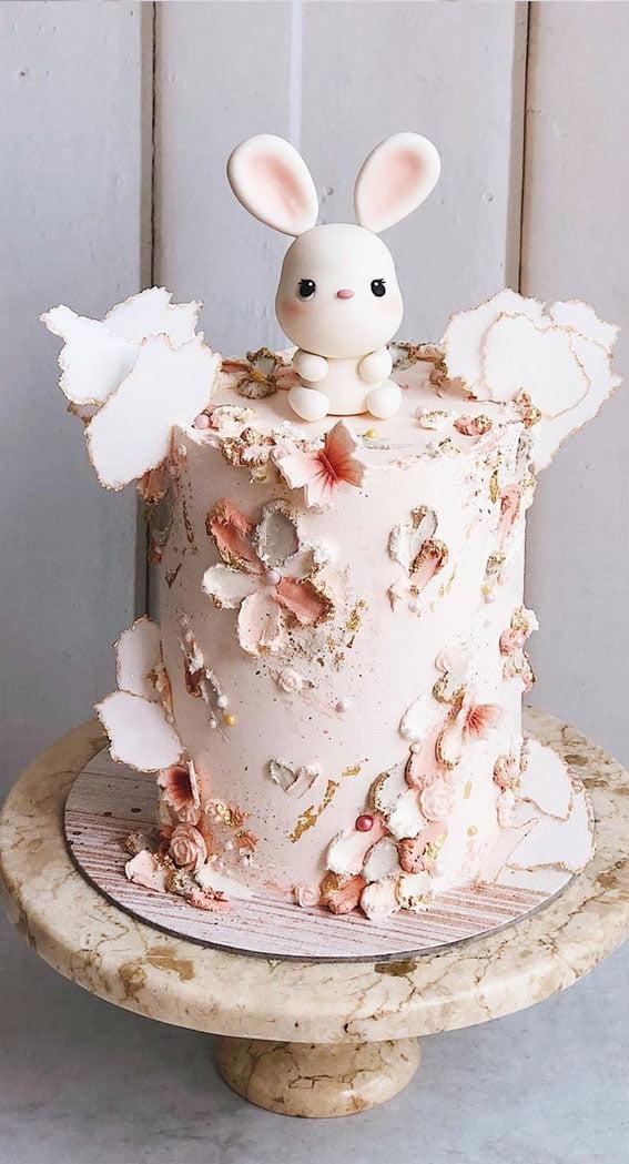 White and Pink Rabbit-Inspired Baby Shower Cake