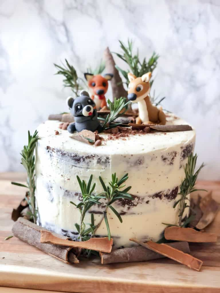 Wintry Forest Wonderland Cake with Crumb Coat