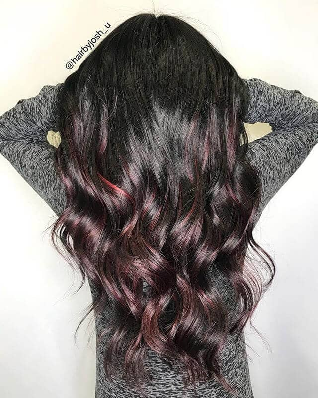 Burgundy Hair with Highlights on the Bottom