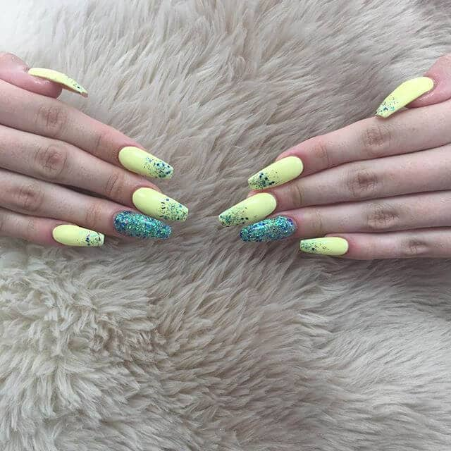 Chartreuse and Turquoise Mermaid Style Acrylics