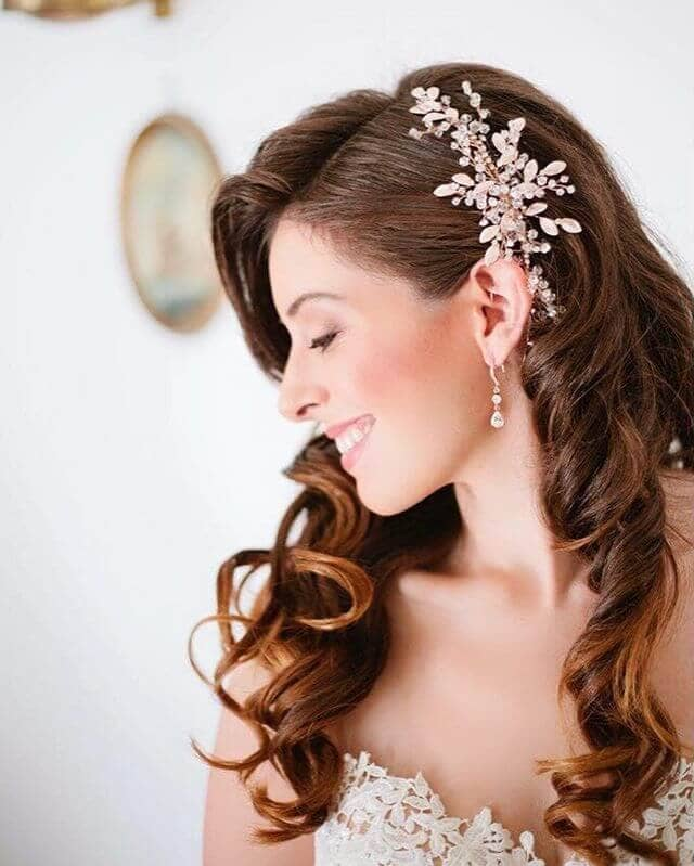 Easy Elegant Curls In Bejeweled Side Part