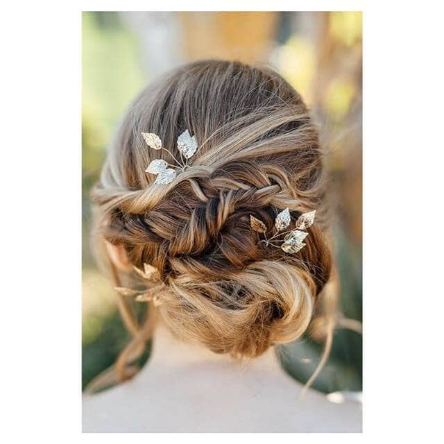 Cute Zig-Zag Braided Bun And Floral Accents