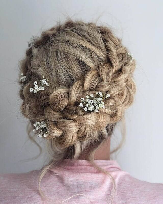 Double Braided Crown With Baby's Breath