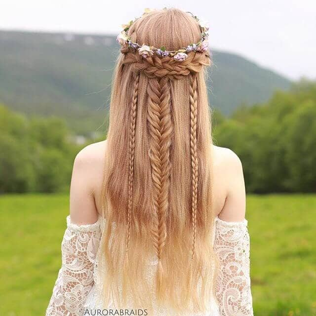 Mermaid Fantasy Half-Crown Fishtail Braids