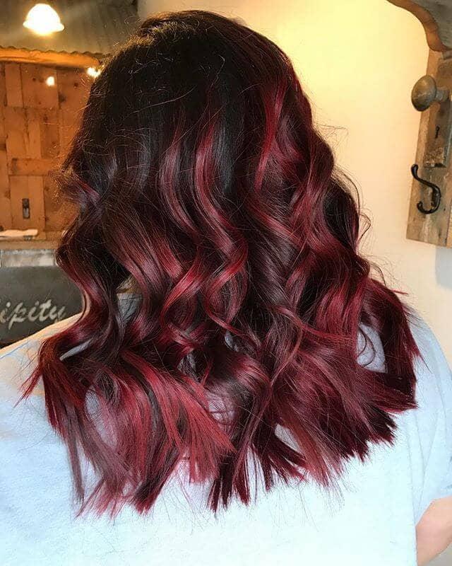 Cute, Fringy Burgundy Hair