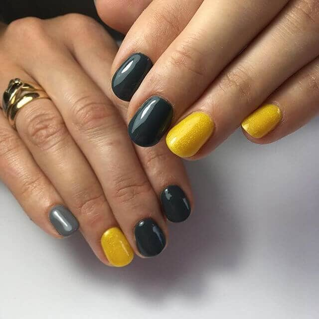 Goldenrod Nails with Shades of Black
