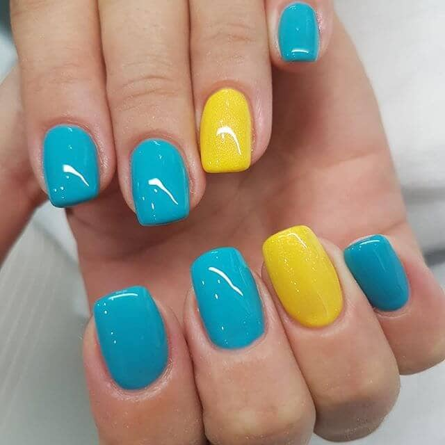 Lemon and Turquoise Flirty Nails