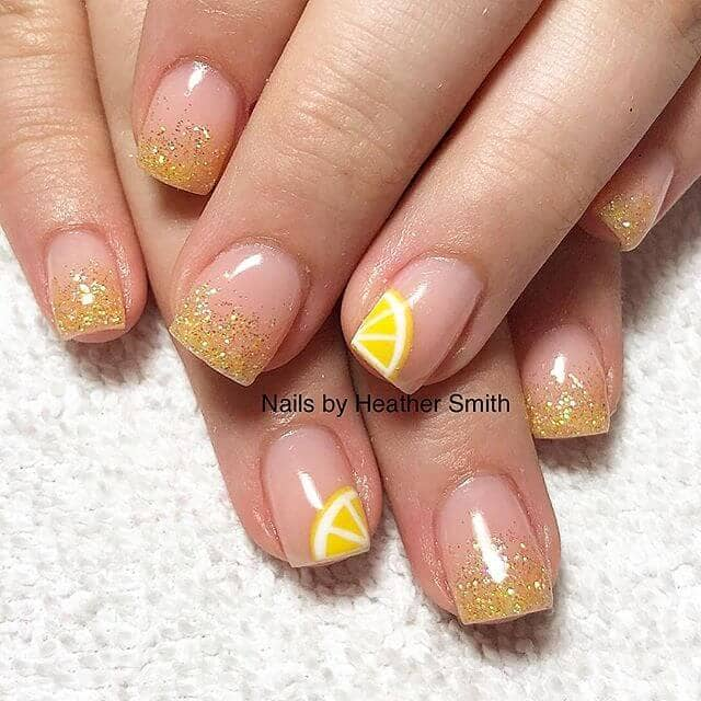 Yellow Glitter Nails with Lemon Details