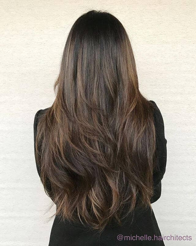 Deep Natural Brunette with Sweeping Layers