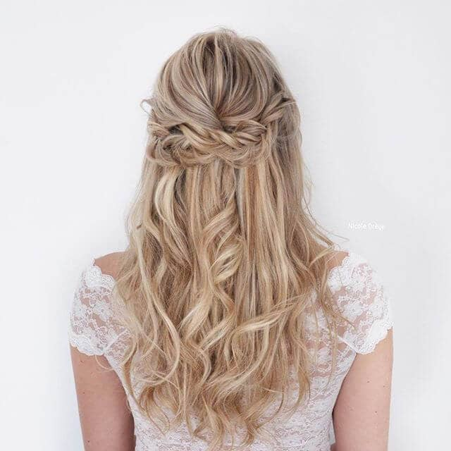 Tucked Half-Crown Braids Over Long Waves