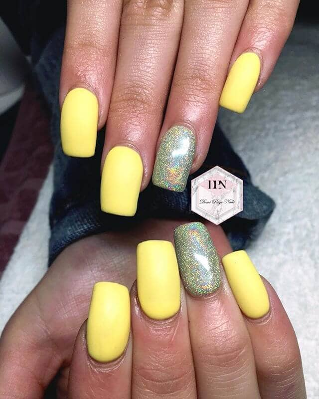 Yellow Acrylic Nails with Opalescent Accent