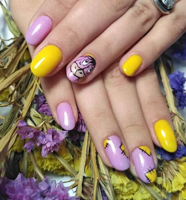 Lilac and Yellow Eeyore Nails
