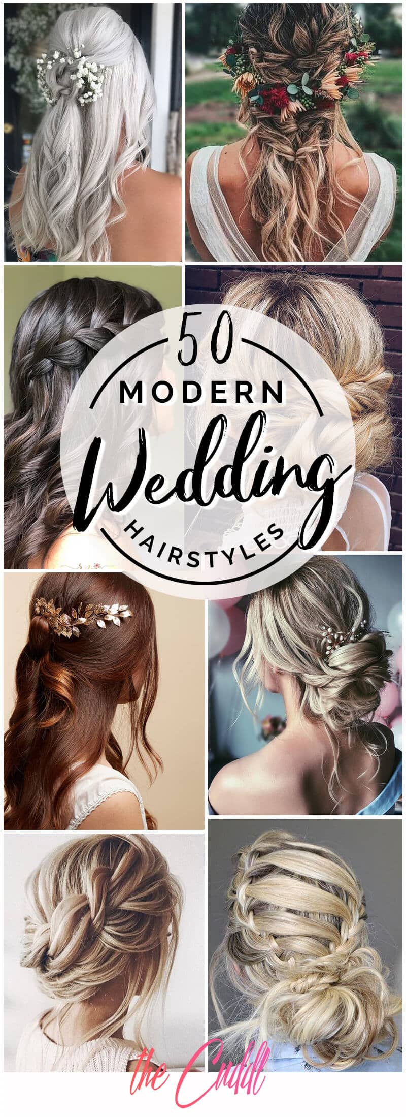50 Modern Wedding Hairstyle Ideas with Awesome Braids, Curls, and Up-dos