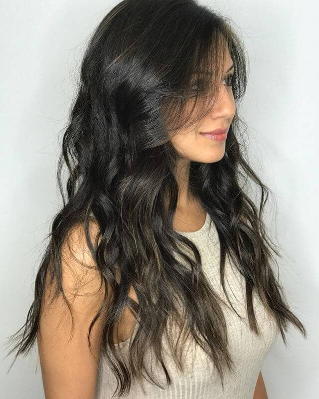 Feathery and Silky Dark Brown Waves