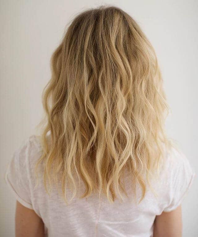 Light Blond Soft Below Shoulder Crimped Waves